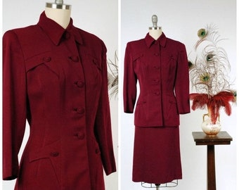 20% OFF - 1940s Vintage Suit - Stunning Burgundy Deep Red Wool Gabardine Late 40s Suit with Fantastic Details
