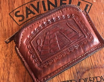 Vintage Hand Tooled Leather Change Purse with engraved Mayan Ruins Coin Pouch