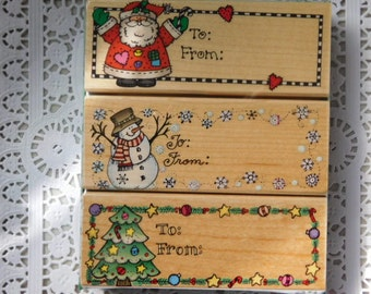 SALE - Christmas Gift Tag Rubber Stamps - New in Box