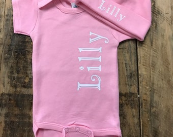 Vinyl onesie etsy personalized baby one piece creeper coming home outfit monogram or baby name matching negle Choice Image