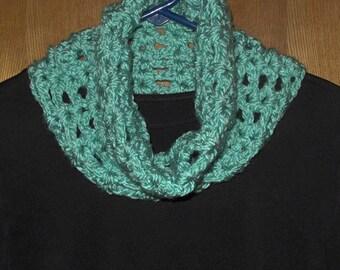 Aqua Crocheted Neckwarmer Cowl