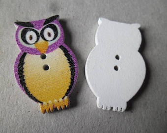 x 6 wooden buttons/OWL purple, light yellow with 2 holes 3.2 x 2 cm