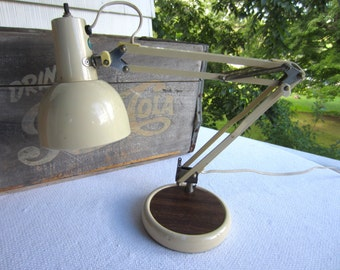 Vintage Mid Century Articulating Swing Desk Lamp Heavy Base White with Faux Bois Base