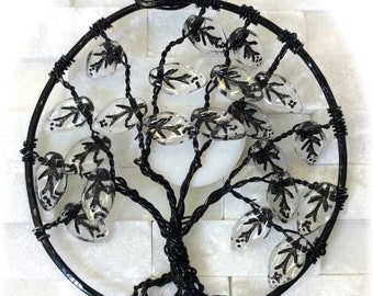 Black Wire Moon Tree with Leaves