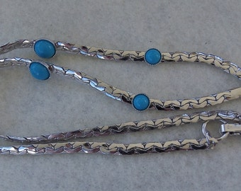 Sarah Coventry Summer Skies Choker Necklace 8055  Vintage, Silvery, Turquoise