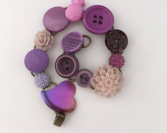 purple people eater, buttons and bits bracelet