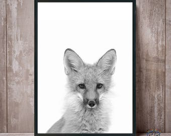 Fox print, Black and white, Fox wall art, Woodland nursery, Fox art, Nursery wall art, Woodland animals, Nursery decor,  Fox art print, Fox