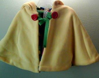 yellow reversible girl's poncho
