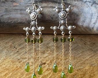 Byzantine chandelier earrings, Bohemian earrings, antique brass, olive green