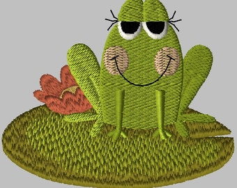 Machine Embroidery Design-Primsy Frog-03 includes 3 sizes!