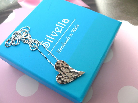 Hammered Silver Modern Heart Necklace - Silver Necklace - Handmade in Wales