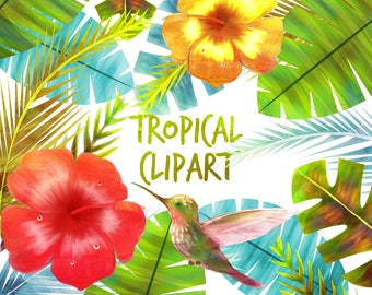 Tropical Clipart, Tropical Clip art, Tropical Flowers, for personal and commercial use, scrapbooking, instant download, planner stickers