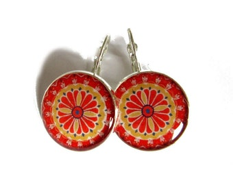 MANDALA EARRINGS - handmade ring - hippie jewelry - mandala jewelry - indian jewellery - statement earrings - red and yellow