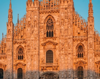 Sunset light on the Duomo in Milan, Italy. Photo Print, Metal, Canvas, Framed.