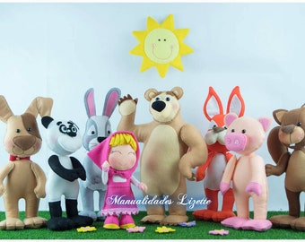 Masha and Bear-Birthday-Children's Decoration-Bear Panda-Pig-Hare-Dog-Beaver-Squirrel-Birthday Decoration-Sweet Table-Dolls Felt