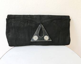 1940s cord bag / 40s cord clutch / Flore Pleno clutch