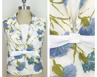 60s Cream Blue Floral Sleeveless Shell Blouse with Bow, Size Medium