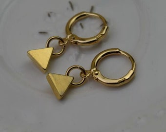 gold triangle hoops endless hoop huggie dangle earring simple earrings everyday/gift for her