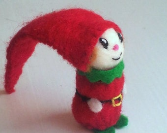 Tiny Red Elf - miniature elf doll - vintage style elf - felt Christmas elf doll - by Moss Mountain