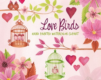 Love bird floral watercolor clipart, bird cages and hearts watercolor graphics, pink flowers and tree braches clipart by SLS Lines