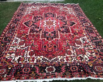 Antique Persian Heriz Rug 8x11 Amazingly Preserved