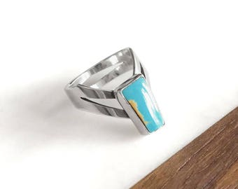 Turquoise Ring - Silver Ring, Turquoise Silver Ring, Sterling Silver Ring, Boho Ring, Chevron Ring, Handmade Ring, Gifts for Her