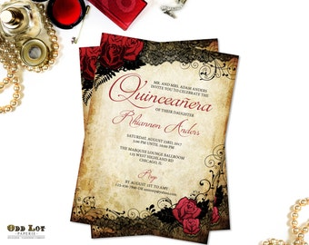 Quinceanera Invitations Sweet 16 Invitations, Red Rose and Black Lace,  Sweet Sixteen Party, Milestone Birthday Invitations Vintage Gothic