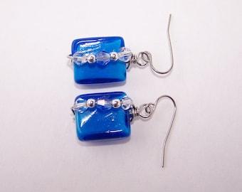 Blue lampworked glass Swarovski wire wrapped earrings surgical steel earwires