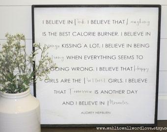 I believe in pink, I believe that happy girls are the prettiest girls, Audrey Hepburn quote, 2' x 2', girls room decor, teen girls room art