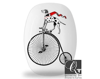 Dalmatian Platter,dog platters,melamine platters,dog on bike art,serving trays,bike plates,dinnerware sets,fire dog art,dog dish,gift #98