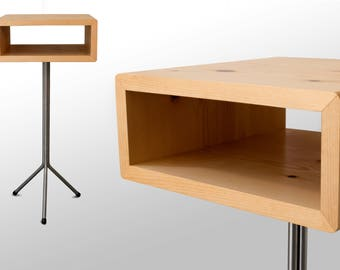 The Toole Bedside/End Table:  White Pine
