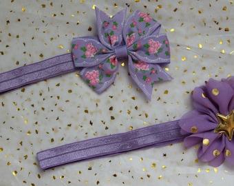 2 purple baby headbands