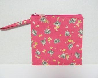 """Wet Bag 9""""x9""""/Cat On Pink x Pink Zipper"""