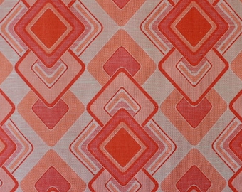 70s orange red fabric, unused curtain fabric, hippie style