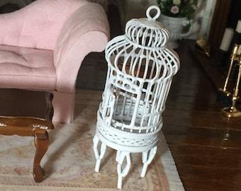 Miniature White Round Bird Cage on Stand, Hinged Door Mini Birdcage, Dollhouse Miniature, 1:12 Scale, White Mini Cage, Wire Birdcage