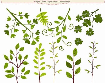 ON SALE Leafs clipart, Botanical clipart,country garden clipart, leaf clipart, INSTANT Download