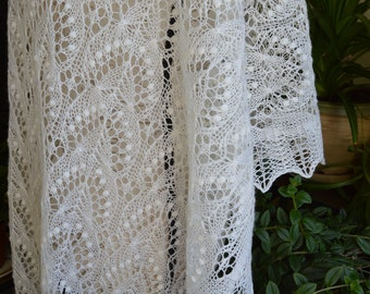 Wedding white Estonian lace shawl