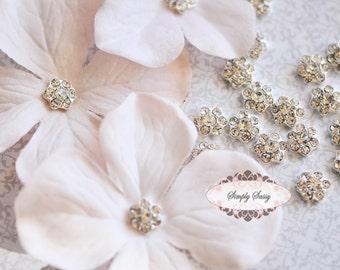 20 pcs RD131 Itty bitty metal rhinestone crystal embellishment flatback DIY Bridal wedding invitationsflowers