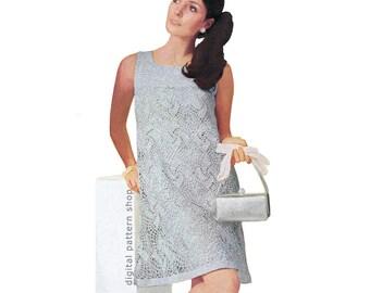 Crochet Dress Pattern Vintage Silver Lace Tent Dress Crochet Pattern Party Dress Square Neckline Womens PDF Instant Download- C137