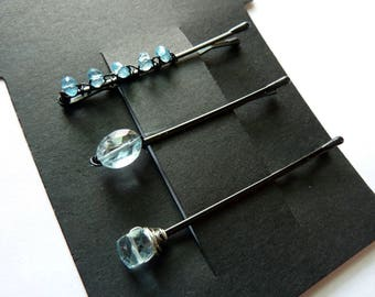 Blauer Topas Edelstein Trio Bobby Pin Pack - etwas blau
