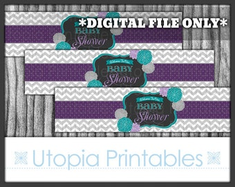 Flower Chevron Water Bottle Label Decal Baby Shower Teal Purple Floral Theme Party Digital Printable Aqua Blue Grey Decor Decorations DIY