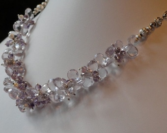 Pink Amethyst beaded necklace  -  147