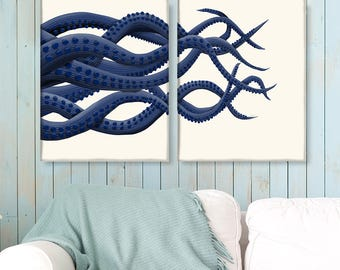 Giant Octopus print - Blue Octopus Tentacles  - 2 prints - Octopus art Octopus wall art Octopus poster Octopus gift for boyfriend husband