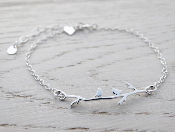 Dainty Silver Bird Bracelet - Sterling Silver