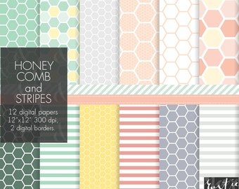 Honeycomb digital paper in soft mint green, yellow, pink and grey colors. Hexagon and stripes patterns. Small commercial use, PNG.