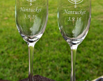 Compass Etched Champagne Glasses for a Destination Wedding, World Travelers, Nautical Wedding, Sandcarved by JackGlass on Etsy