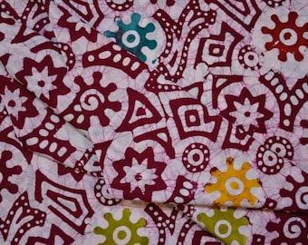 White and Maroon Batik Block Print Cotton Fabric
