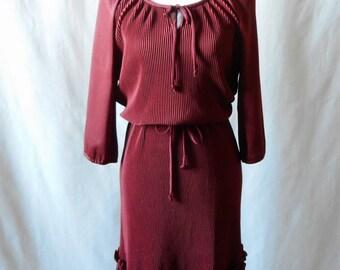 Vintage 1970s Accordion Pleat Maxi Dress, 1970s Long Sleeve Dress, 1970s Women's Clothing, 1970s Maxi Dress, Vintage Pleated Dress