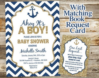 Nautical Baby Shower Invitation - Anchor Invitation - Nautical Anchor Book Request Card - Glitter Boy Baby Nautical Shower Invitations