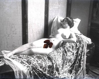 vintage photo Mature Print Artist Model French Model Reclining Nude 1900